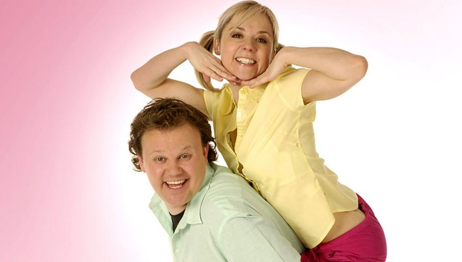 Sarah-Jane Honeywell and Justin Fletcher (Picture: CBBC)
