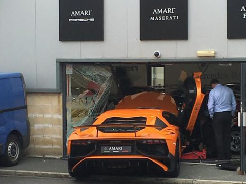 Driver wants to get better picture of Lamborghini, crashes it through window