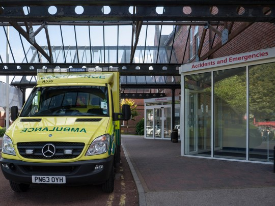 E6TNNB Ambulance queuing outside Accident and Emergency Department Wigan Infirmary