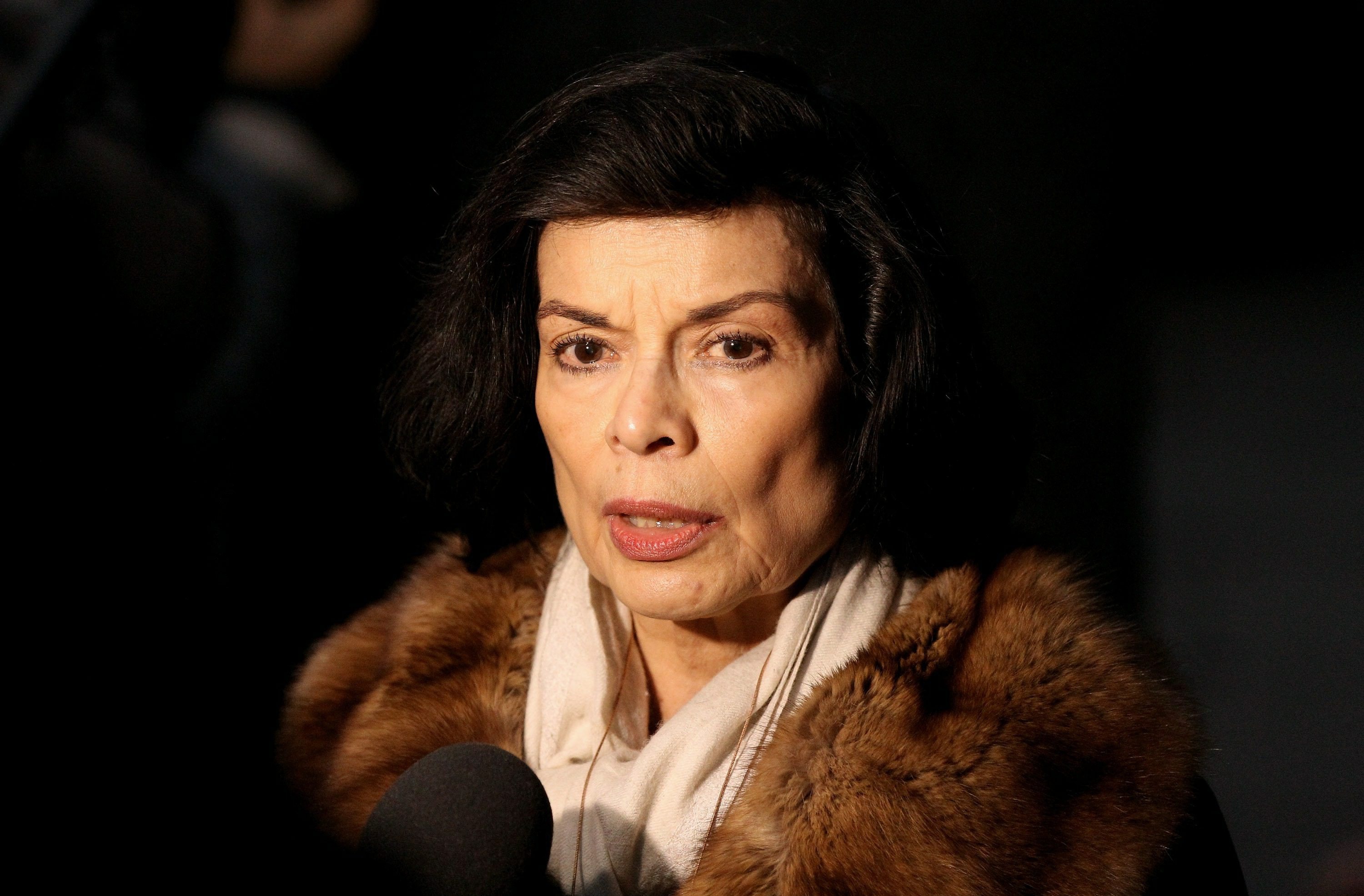 Bianca Jagger leaves the City of Westminster Magistrates Court on December 14, 2010 in London, England. Wikileak's Julian Assange has been released on conditional bail. LONDON, ENGLAND - DECEMBER 14 (Photo by Oli Scarff/Getty Images)