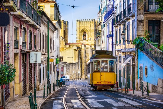 A general view of a tram in Lisbon, Portugal.E9CHF4