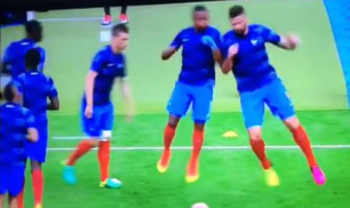 Arsenal star Olivier Giroud floors Manchester United legend Patrice Evra during France warm-up
