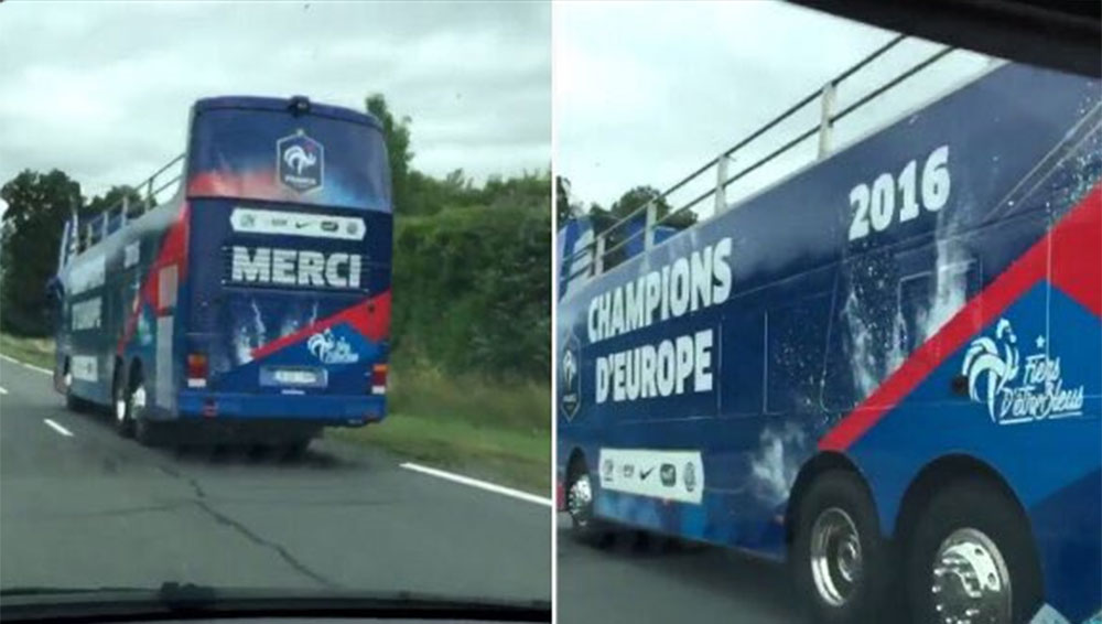 The France victory parade bus now seems horribly depressing