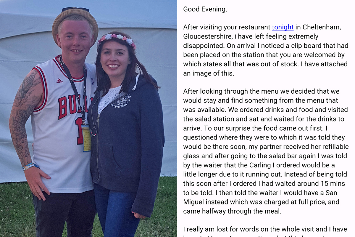 Guy's romantic date to Harvester ruined by lack of everything but chicken