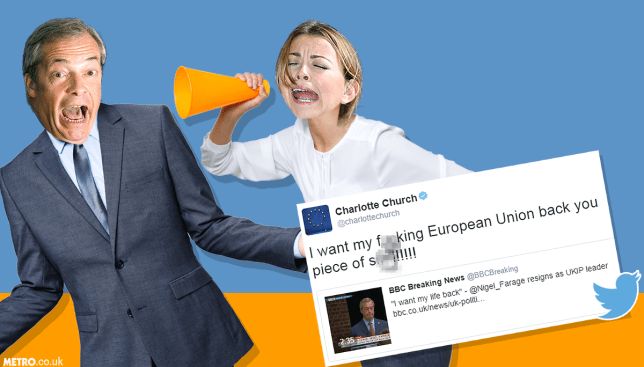 Charlotte Church had the funniest response to Nigel Farage's resignation Picture: PA Credit: METRO/mylo