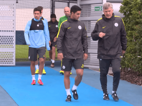 Pictured: Mikel Arteta makes his bow as Manchester City coach