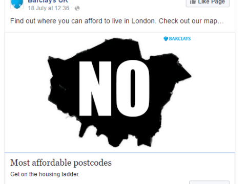 Someone edited Barclays' map of affordable places to buy in London