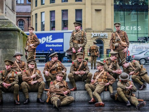 #WeAreHere: Soldiers hand out cards for the fallen soldiers of the Battle of the Somme on centenary