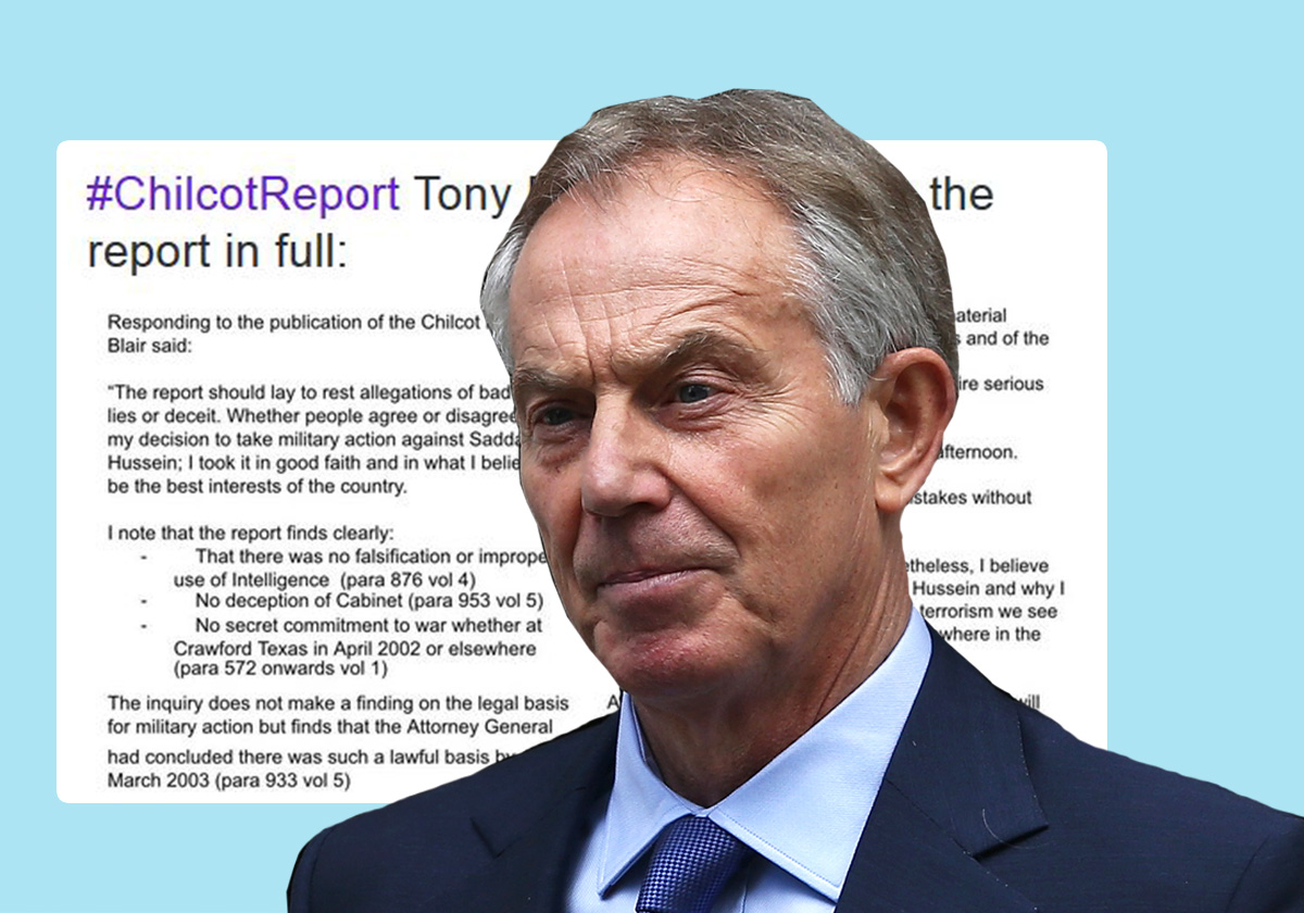 Tony Blair says he acted 'in good faith' taking us into pointless war