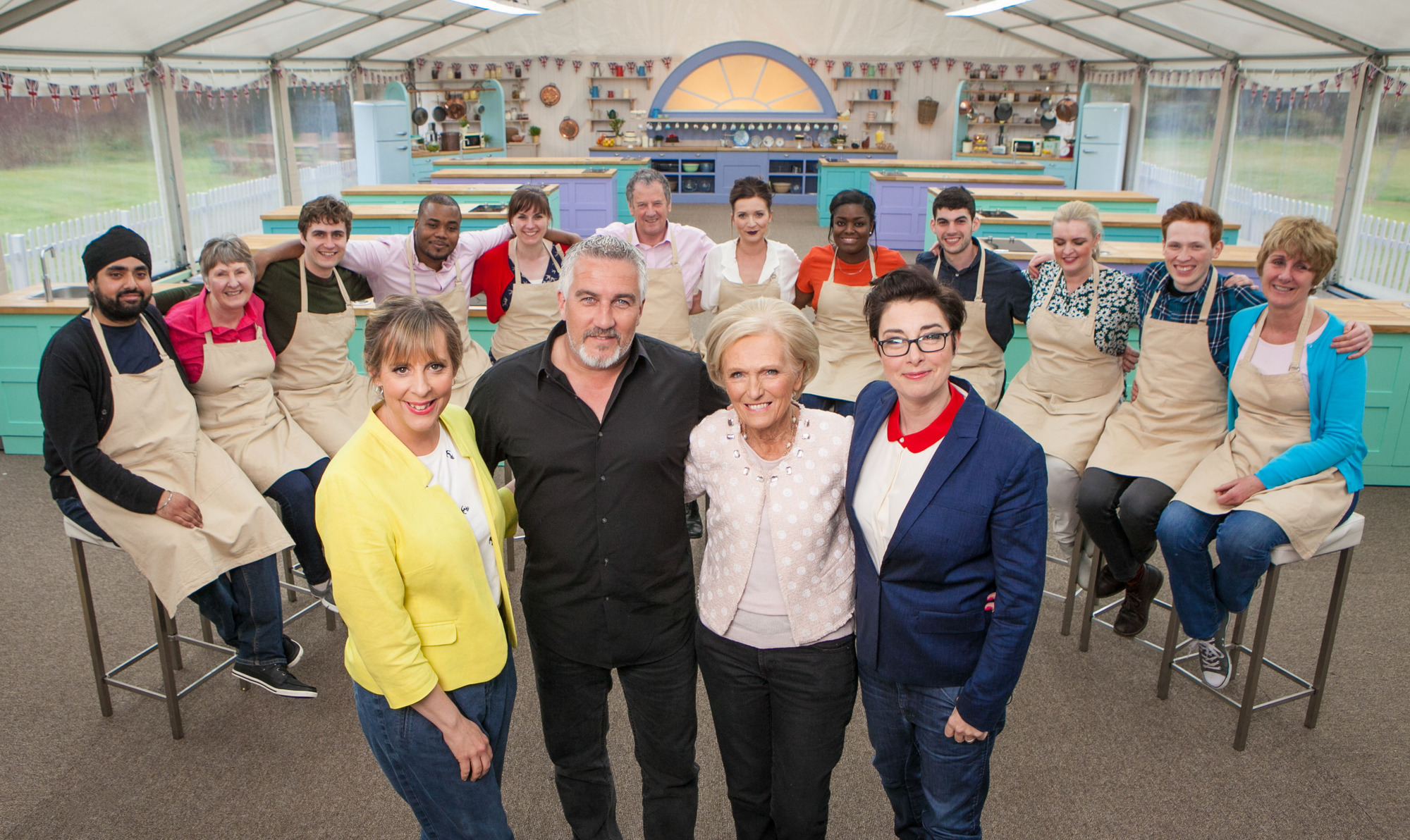 WARNING: Embargoed for publication until 00:00:01 on 16/08/2016 - Programme Name: The Great British Bake Off 2016 - TX: n/a - Episode: n/a (No. n/a) - Picture Shows: **NOT FOR PUBLICATION BEFORE 00:01 HOURS TUESDAY 16TH AUGUST 2016** All the bakers with Mel Giedroyc, Paul Hollywood, Mary Berry and Sue Perkins Bakers left to right: Rav, Val, Tom, Selasi, Kate, Lee, Candice, Benjamina, Michael, Louise, Andrew & Jane - (C) Love Productions - Photographer: Mark Bourdillon