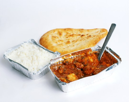 Takeaway chicken curry, rice, naan, & pint of lager