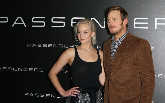 LAS VEGAS, NEVADA - APRIL 12: Actress Jennifer Lawrence (L) and actor Chris Pratt attend Sony Pictures Entertainment's exclusive product presentation highlighting 2016 films at The Colosseum at Caesars Palace during CinemaCon, the official convention of the National Association of Theatre Owners, on April 12, 2016 in Las Vegas, Nevada. (Photo by Gabe Ginsberg/WireImage)