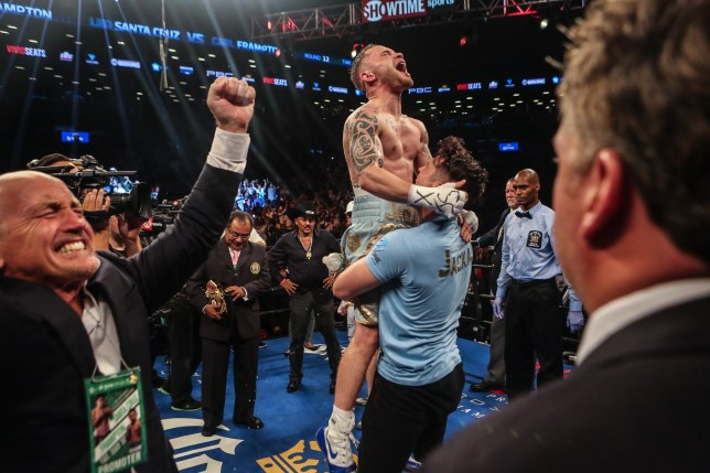 NEW YORK, NY - JULY 30: Carl Frampton celebrates his win after defeating Leo Santa Cruz in the 12 round WBA Super featherweight championship bout at Barclays Center on July 30, 2016 in the Brooklyn borough in New York City. (Photo by Anthony Geathers/Getty Images)