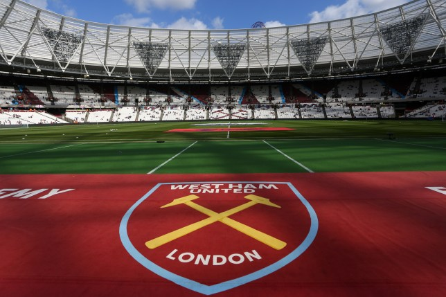 LONDON, ENGLAND - AUGUST 21: General view of the club badge at stadium before the Premier League match between West Ham United and AFC Bournemouth at Olympic Stadium on August 21, 2016 in London, England. (Photo by Catherine Ivill - AMA/Getty Images)