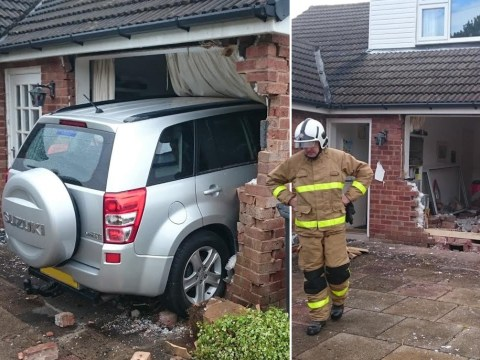 Car smashes into house and ends up in living room