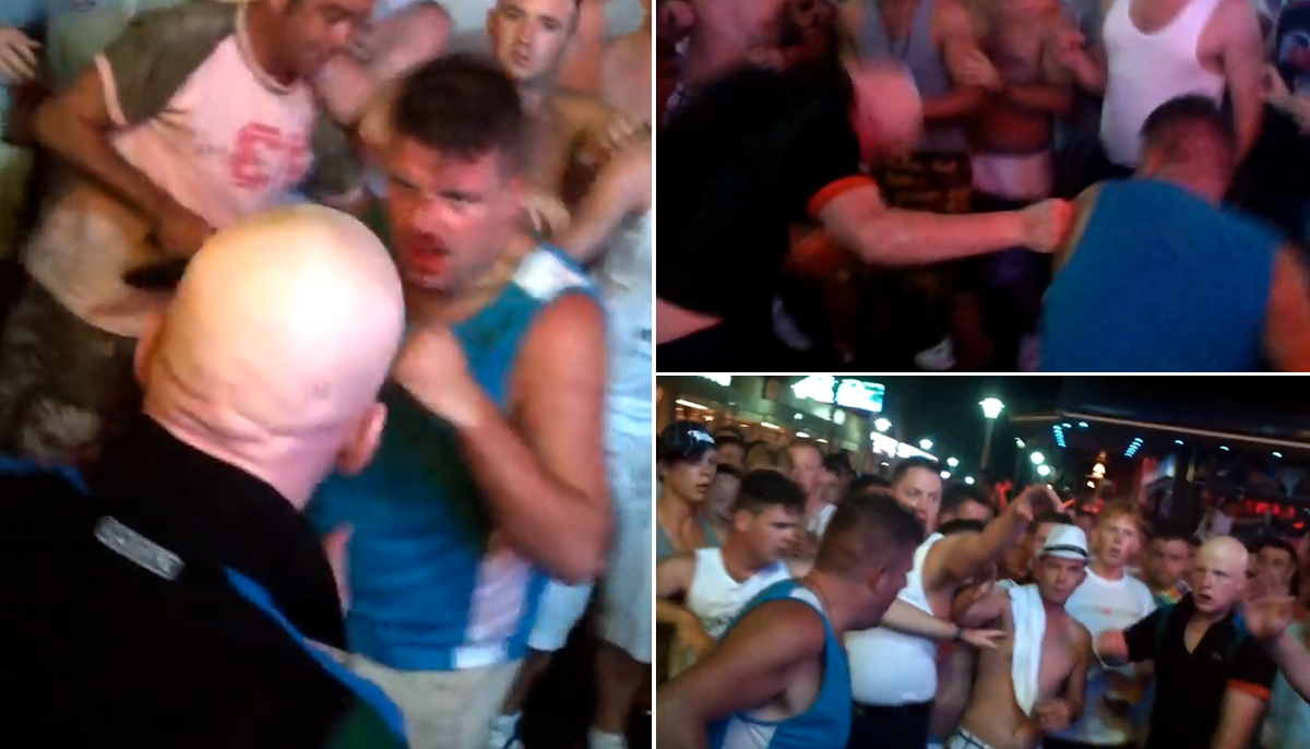 Mob of Brit tourists cheer as men brawl in Magaluf street