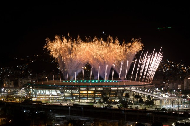Fireworks explode above the Maracana stadium during the rehearsal of the opening ceremony of the Olympic Games in Rio de Janeiro, Brazil, Sunday, July 31, 2016. (AP Photo/Felipe Dana)