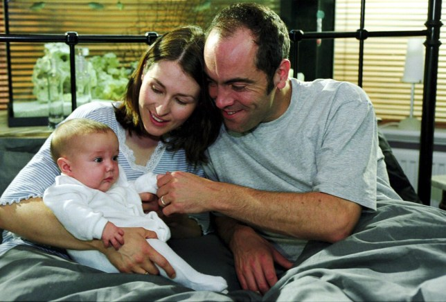 TELEVISION PROGRAMMES... Cold Feet; Helen Baxendale pictured as Rachel, with James Nesbitt as Adam and baby Matthew...