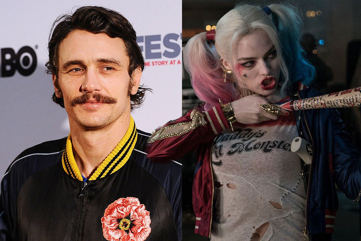 James Franco has rainbow hair now and people think he looks like Harley Quinn