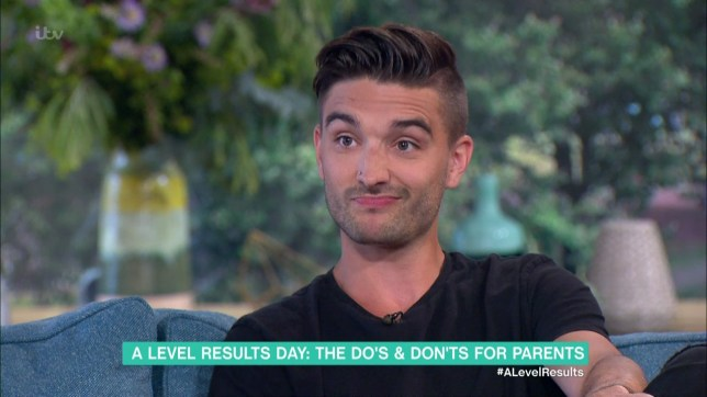 Tom Parker talks about A level results on 'This Morning'. Broadcast on ITV1HD Featuring: Tom Parker When: 18 Aug 2016 Credit: Supplied by WENN **WENN does not claim any ownership including but not limited to Copyright, License in attached material. Fees charged by WENN are for WENN's services only, do not, nor are they intended to, convey to the user any ownership of Copyright, License in material. By publishing this material you expressly agree to indemnify, to hold WENN, its directors, shareholders, employees harmless from any loss, claims, damages, demands, expenses (including legal fees), any causes of action, allegation against WENN arising out of, connected in any way with publication of the material.**