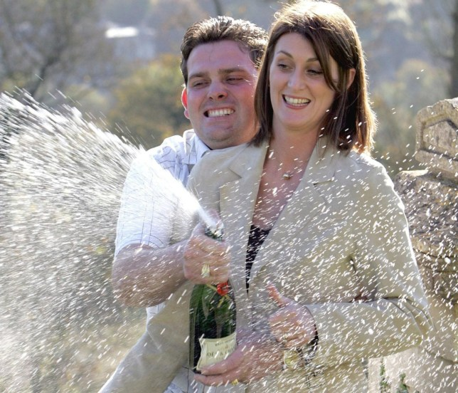 Newly Weds Victoria & Jason Jones who won 2,271,988 on Saturdays Lotto (30th Octoner) celebrate thier winnings at Combe Grove Manor hotel near Bath.