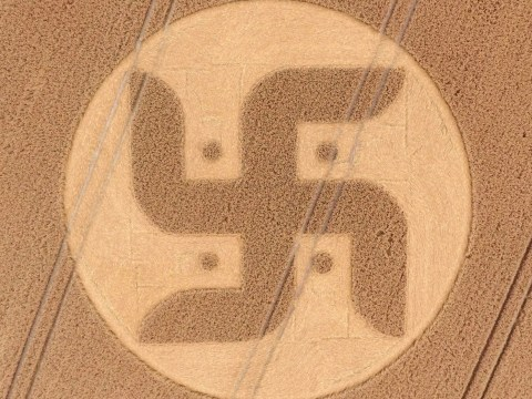 Farmer finds massive Swastika crop circle in his field