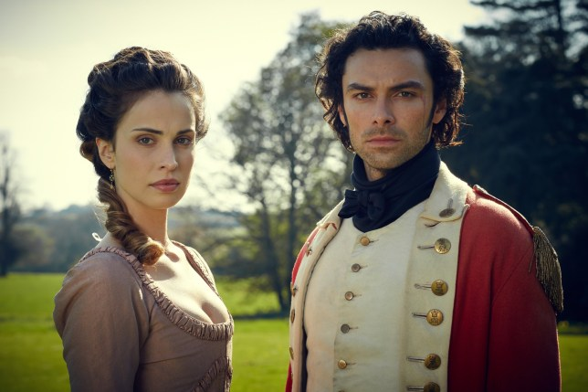 Television programme; Poldark - Heida Reed as Elizabeth & Aidan Turner as Ross Poldark