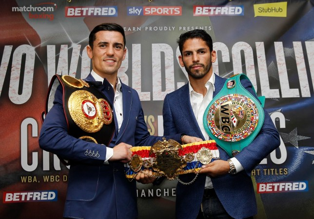 Anthony Crolla nd Jorge Linares at the press conference on August 24 (Picture: Lawrence Lustig