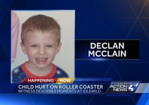 Three-year-old boy in critical condition after fall from roller coaster