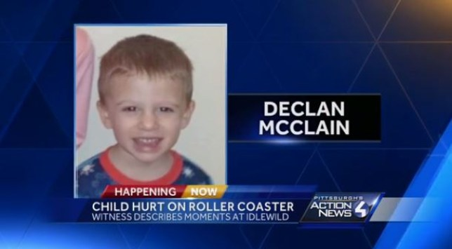 Horror as three-year-old boy falls from roller coaster