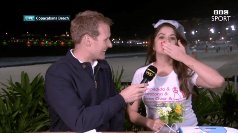 A hen party gatecrashed BBC's Rio Olympics 2016 coverage and Dan Walker handled it like a boss
