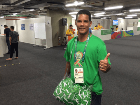 Olympic condom dispenser guy's job is to literally walk around handing them out