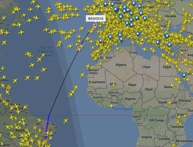 Track Team GB's flight as they return from Rio to London