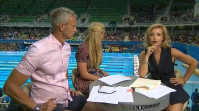 Mark Foster, Rebecca Adlington and Helen Skelton host the BBC's swimming coverage from the Olympics (Picture: BBC)