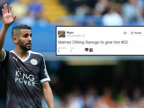 Arsenal fans believe Riyad Mahrez has followed Yaya Sanogo on Twitter to take his shirt number