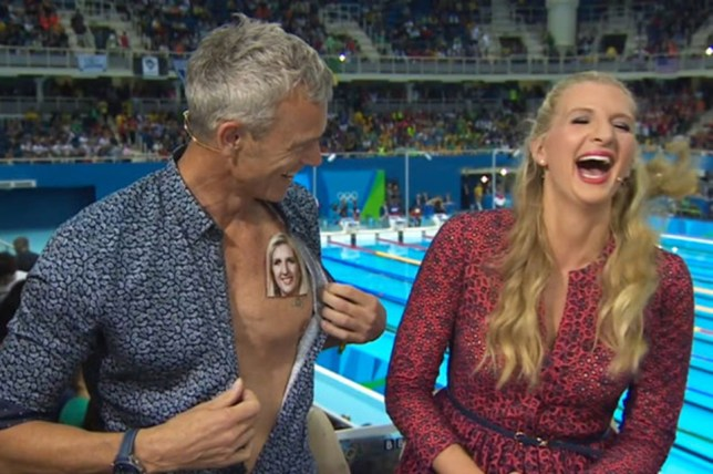 Is there some serious flirting going between Mark Foster and Rebecca Adlington (Picture: BBC)