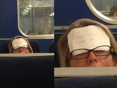 Sleeping commuter sticks 'Wake me up at Harpenden' note on forehead
