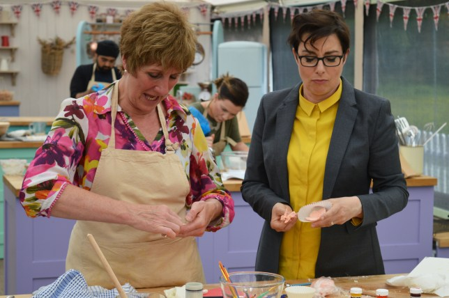 WARNING: Embargoed for publication until 21:00:01 on 21/09/2016 - Programme Name: The Great British Bake Off 2016 - TX: n/a - Episode: The Great British Bake Off 2016 - episode 6 (No. 6) - Picture Shows: Showstopper. Sue making fondant flowers with Jane. **STRICT EMBARGO OF 2100 WEDNESDAY 21ST SEPTEMBER 2016** - (C) BBC - Photographer: Tom Graham