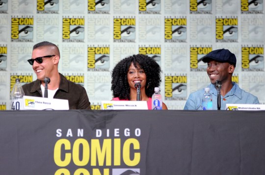 Simone Missick and Mahershala Ali (along with Theo Rossi, above left) star in Netflix/Marvel's Luke Cage (Picture: Dave Mangels/Getty Images for Netflix)