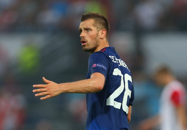 ROTTERDAM, NETHERLANDS - SEPTEMBER 15: Morgan Schneiderlin of Manchester United during the UEFA Europa League match between Feyenoord and Manchester United at Feijenoord Stadion on September 15, 2016 in Rotterdam, . (Photo by Catherine Ivill - AMA/Getty Images)