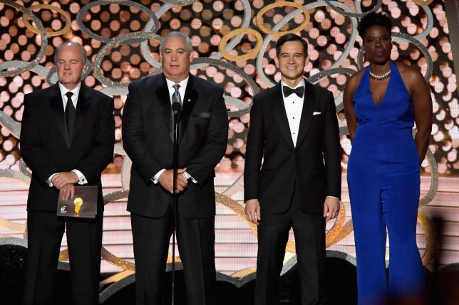 Leslie Jones and representatives of Ernst & Young at the 68th Annual Primetime Emmy Awards at Microsoft Theater in Los Angeles, California. (Picture: Lester Cohen/WireImage)