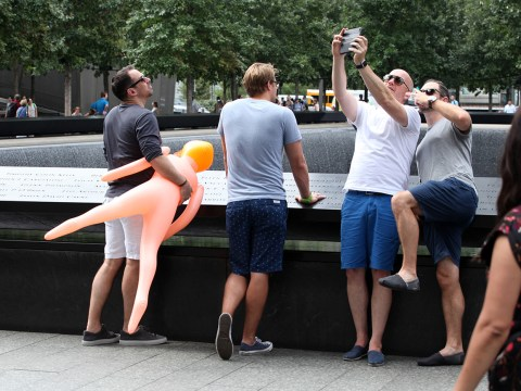 British stag party 'take selfies with blowup sex doll at Ground Zero'