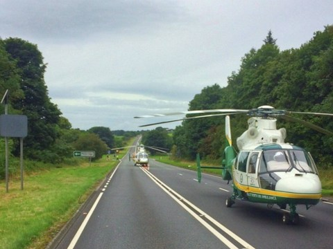 Two dead and eight injured after crash between at least four cars
