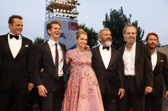 Vince Vaughn, Andrew Garfield, Teresa Palmer, Mel Gibson, Hugo Weaving and Luke Bracey attending the premiere of 'Hacksaw Ridge' at Sala Grande, during the 73rd Venice Film Festival in Venice, Italy. Featuring: Vince Vaughn, Andrew Garfield, Teresa Palmer, Mel Gibson, Hugo Weaving, Luke Bracey Where: Venice, Italy When: 04 Sep 2016 Credit: Dave Bedrosian/Future Image/WENN.com **Not available for publication in Germany, Poland, Russia, Hungary, Slovenia, Czech Republic, Serbia, Croatia, Slovakia**