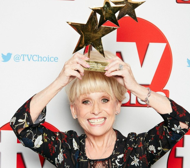 EMBARGOED TO 2300 MONDAY SEPTEMBER 5 Handout photo issued by TV Choice Awards of Dame Barbara Windsor with her Outstanding Contribution to Television Award at the TV Choice Awards 2016 at The Dorchester Hotel, London. PRESS ASSOCIATION Photo. Picture date: Monday September 5, 2016. See PA story SHOWBIZ TVChoice. Photo credit should read: Nicky Johnston/PA Wire NOTE TO EDITORS: This handout photo may only be used in for editorial reporting purposes for the contemporaneous illustration of events, things or the people in the image or facts mentioned in the caption. Reuse of the picture may require further permission from the copyright holder.