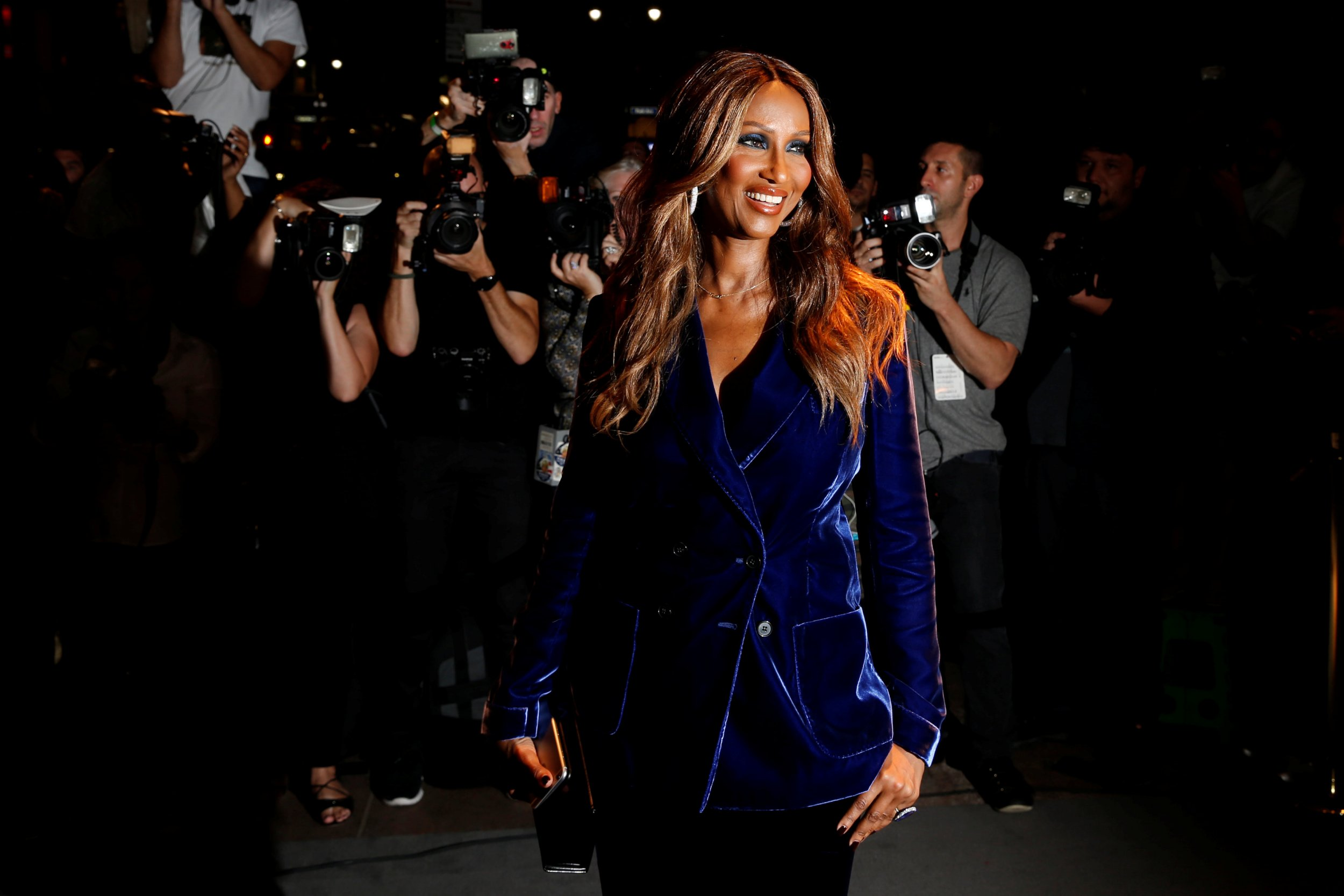 Model Iman arrives to attend a presentation of Tom Ford's Autumn/Winter 2016 collections during New York Fashion Week in the Manhattan borough of New York, U.S., September 7, 2016. REUTERS/Lucas Jackson