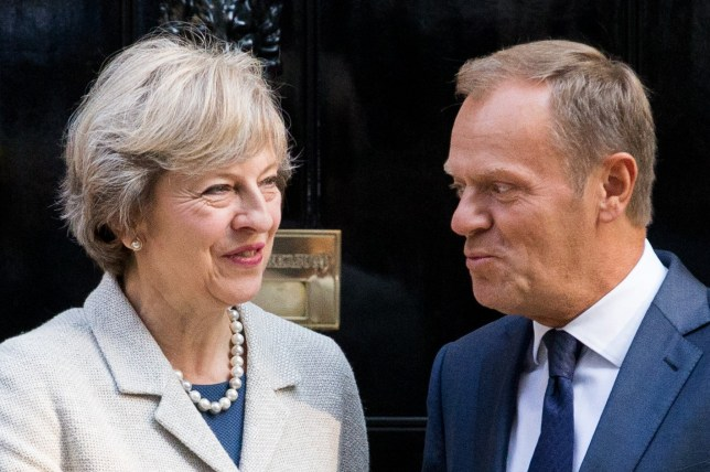 Prime Minister Theresa May welcomes President of the European Council, Donald Tusk to number 10 Downing Street for talks on Brexit negotiations, September 8 2016. Mrs May is expected to say the UK will continue to play a full role in the EU until it leaves. It comes as EU leaders, excluding the UK, prepare to meet next week to sketch out the bloc's future after Brexit.
