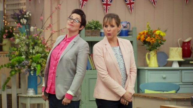 The Great British Bake Off. Broadcast on BBC OneHD..Featuring: Sue Perkins, Mel Giedroyc..When: 07 Sep 2016..Credit: Supplied by WENN..**WENN does not claim any ownership including but not limited to Copyright, License in attached material. Fees charged by WENN are for WENN's services only, do not, nor are they intended to, convey to the user any ownership of Copyright, License in material. By publishing this material you expressly agree to indemnify, to hold WENN, its directors, shareholders, employees harmless from any loss, claims, damages, demands, expenses (including legal fees), any causes of action, allegation against WENN arising out of, connected in any way with publication of the material.**