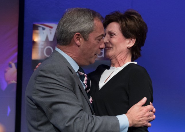 BOURNEMOUTH, ENGLAND - SEPTEMBER 16: Outgoing UKIP leader Nigel Farage congratulates MEP Diane James after she was announced as the new leader of UKIP at the Bournemouth B.I.C where the United Kingdom Independent Party are holding their annual conference on September 16, 2016 in Bournemouth, England. UKIP are holding their first conference since the historic vote by the UK to leave the European Union. The conference is the last Nigel Farage will attend as leader after it was announced today that MEP Diane James will take up the position. (Photo by Matt Cardy/Getty Images)