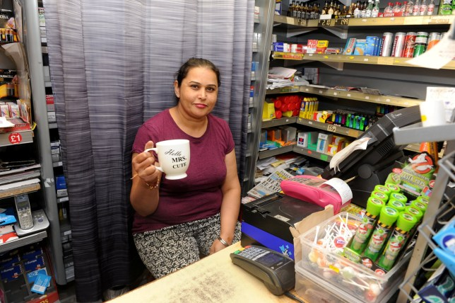 Brave Karamjit Sangha who saw off an armed robber who refused to hand over cash - because she was having her cup of tea. See Ross Parry story RPYCUPPA: A shop worker told a robber who brandished a seven-inch blade at her he would have to wait as she was having a cup of tea. Drug user Stuart Gleeson hung around the Sangha newsagents in Beverley Road, Hull for several minutes before entering and demanding cash from the till. But unflustered Karamjit Sangha put down her cup of tea and waved a craft knife she was using to open the papers at him, causing him to run away.
